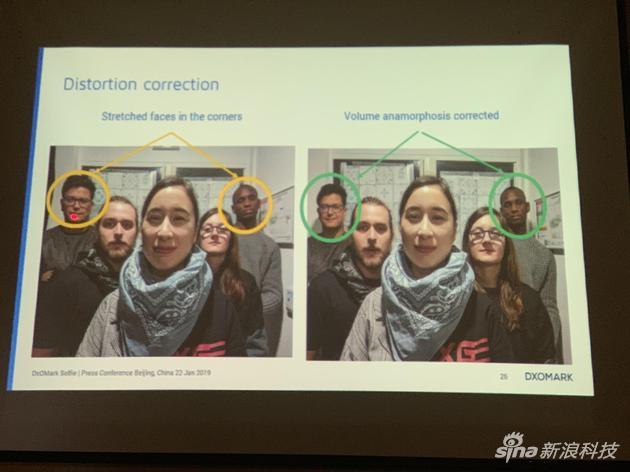 照片边缘人脸形变纠正也是评测的要素