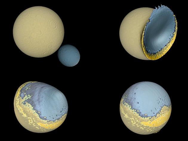 """月球是如何形成的:模拟的原始月球和另一颗地球卫星之间的碰撞显示,碰撞后二者质量嵌合在一起,产生了不对称的半球。浅蓝色表示月球地壳、深蓝色为月球地幔,黄色为一层上地幔物质,代表了熔岩组成的""""海洋""""。另一颗卫星的大部分都以薄层堆积起来,形成了类似月球背面高地的山区。"""