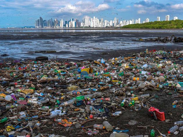 塑料碎片覆盖了巴拿马城Costa del Este附近的海滩