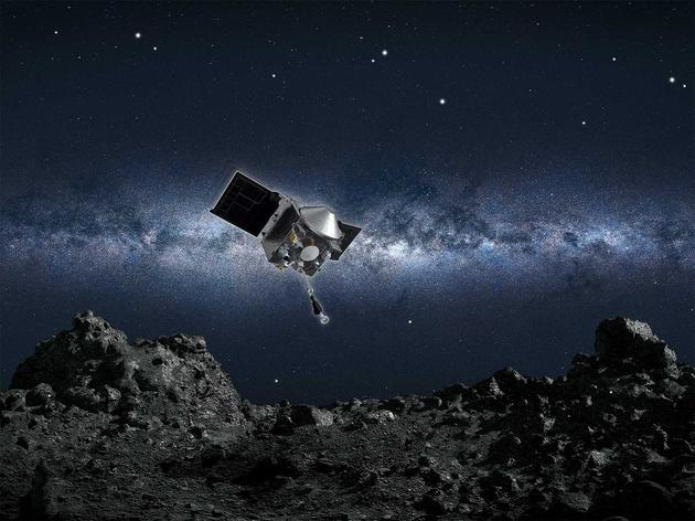 """NASA的欧西里斯号探测器从""""贝努""""小行星采集岩石样品(想象图)"""