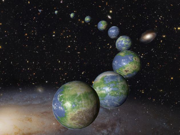 艺术家描绘了在宇宙的历史过程中可能存在的许多类地行星。