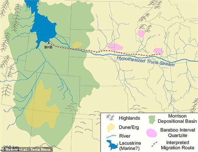 研究人员推测,蜥脚类恐龙可能是沿着一条河流(如上图所示)迁徙的,这条河流曾经从阿巴拉契亚山脉向西流向怀俄明州。尽管这条河流无法承载这些巨石,但它可能还是为恐龙开辟了一条可供遵循的路线。