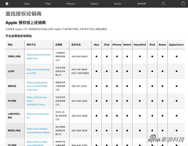 苹果官网的授权经销商列表
