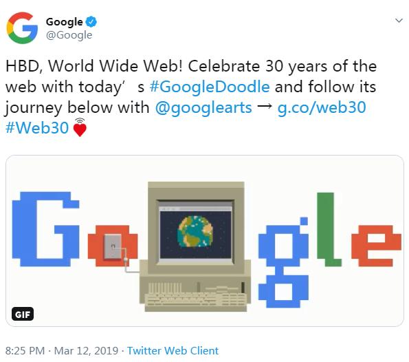 谷歌涂鸦庆祝万维网诞生三十周年