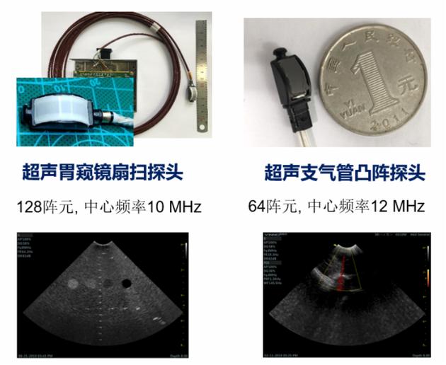 中科院苏州医工所自主研发的消化超声内镜探头和呼吸超声内镜探头图片来源:作者提供