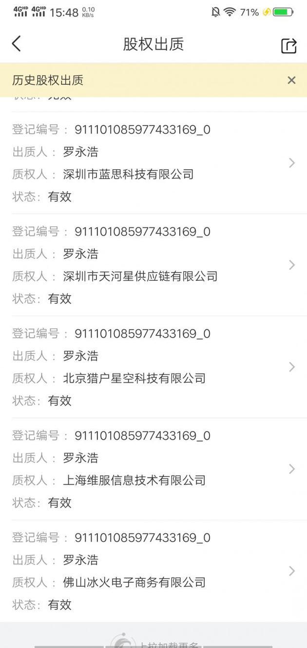 罗永浩新增4条锤子股权出质 数额约4.877万股