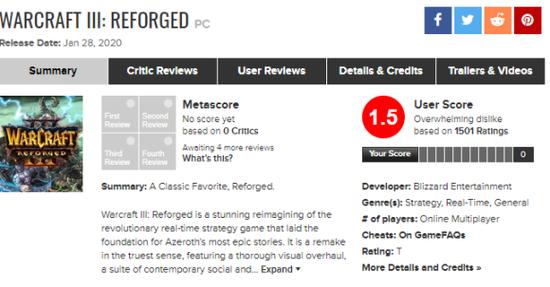 评分媒体metacritic上《魔兽争霸3:重制版》评分(图源来自网络)