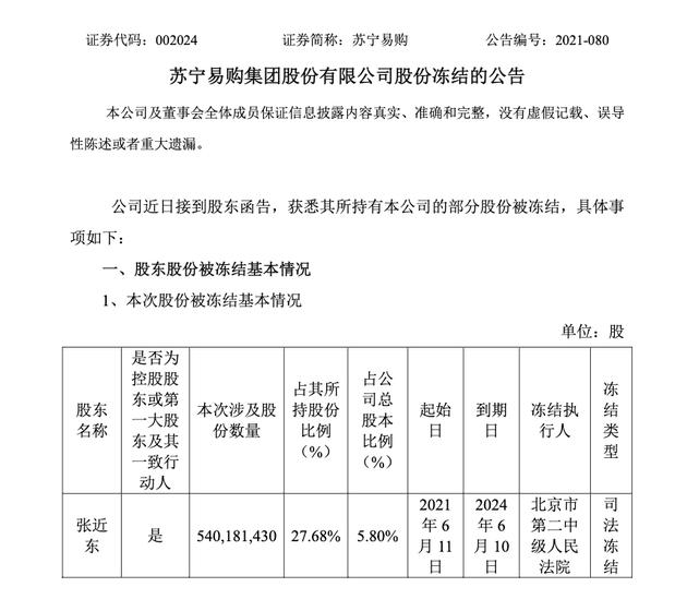 蘇寧易購:蘇寧電器集團于6月11日被動減持1000萬股