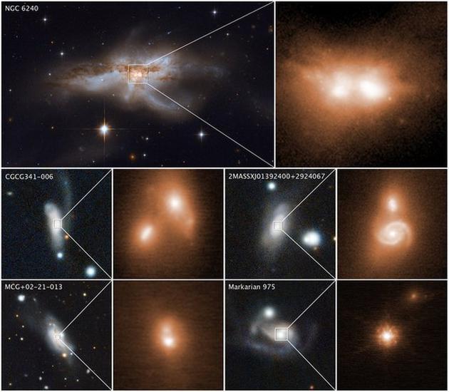 """一些正在碰撞的星系核,它们正处于相符并的末了阶段。最上方为NGC 6240星系,左图由哈勃太空看远镜的第3代广域照相机拍摄,右图为凯克天文台用红外线拍摄的星系核;下方4个星系的图像由泛星计划(全称直译为""""全景巡天看远镜和快速回答体系"""")和凯克天文台拍摄。"""