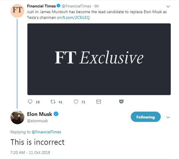 马斯克在相关报道推文下留言