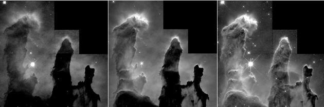 """图为用于合成著名的""""创生之柱""""图像的三张分光图片。左一仅显示由氧原子释放的光线,被研究人员处理为蓝色。中间为氢原子释放的光线,处理为绿色。右一则是硫原子释放的光线,处理为红色。"""