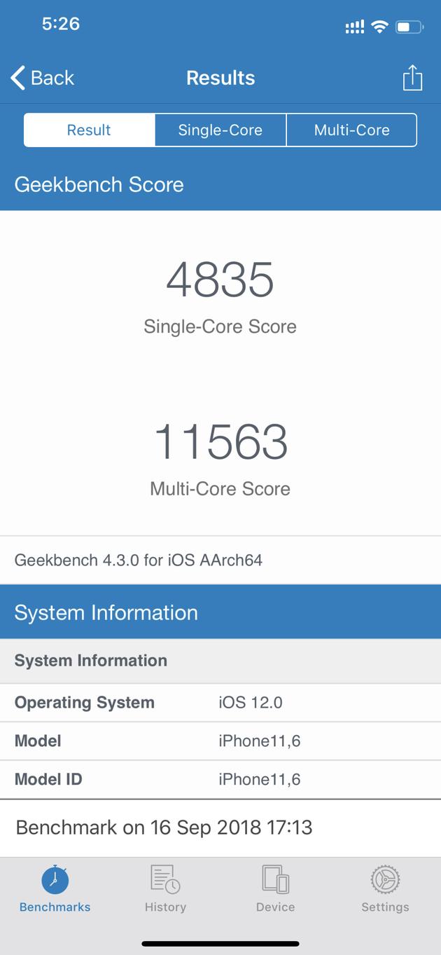 iPhone XS系列跑分结果