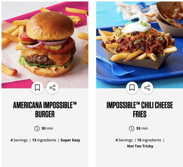 植物肉品牌网站上的食谱,大多是快餐食品