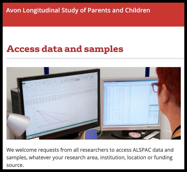 90后研究的数据库是公开的。图片来源:www.bristol.ac.uk/alspac/researchers/access/