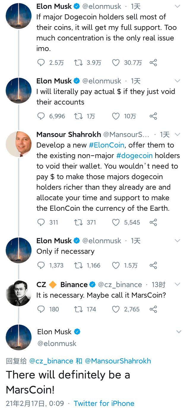 """马斯克推特回复网友:肯定会有 """"火星币""""的"""