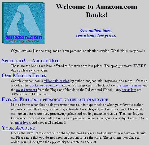 科技界庆祝万维网30周年:亚马逊分享最早主页截图