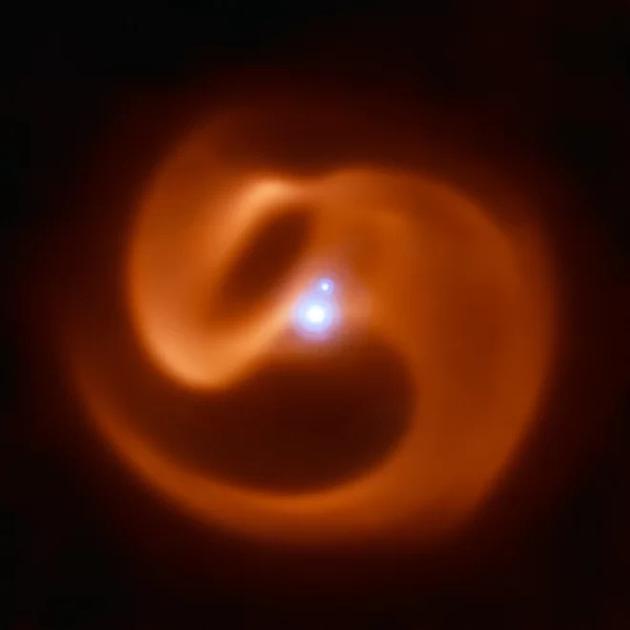 甚大望远镜观测到银河系中一个能够产生伽马射线暴的恒星系统,它犹如蛇一般快速旋转。