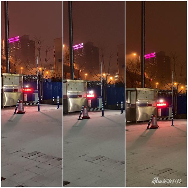 从左到右依次为米9开启手持夜景、米9未开启手持夜景、iPhone XS拍摄