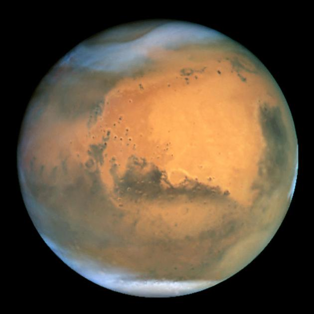 哈勃太空望远镜在2001年发布的火星图像