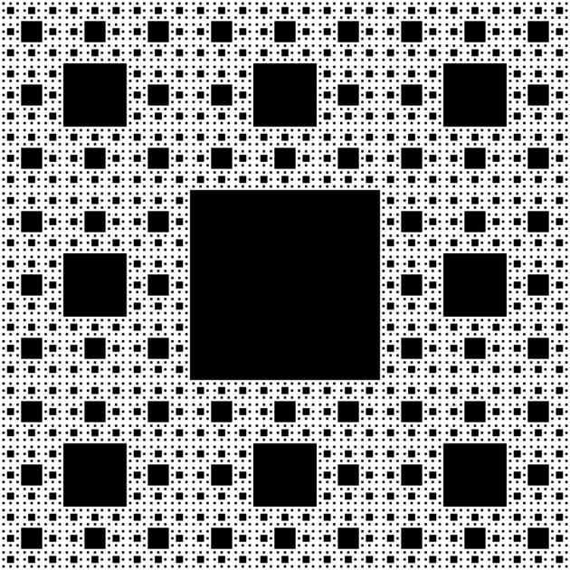"""研究人员还在被称为""""谢尔宾斯基地毯""""的分形结构内进行实验"""