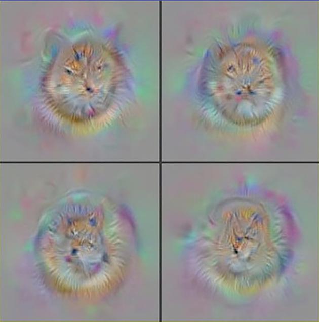"""图为""""深度视觉化""""工具包生成的""""理想猫脸""""。该程序先从类似电视机没信号时的""""雪花""""图像开始,对像素进行逐个调整,直到AlexNet神经网络的面部神经元产生最大响应为止。"""