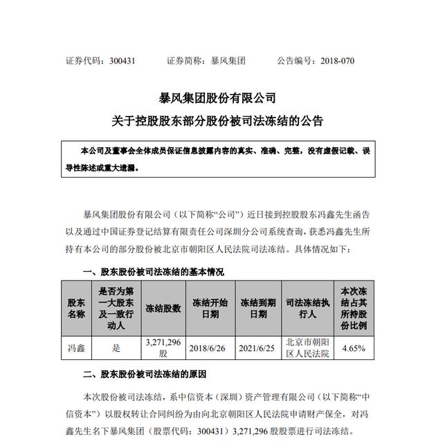 暴风集团:董事长兼CEO冯鑫所持部分股份被法院冻结