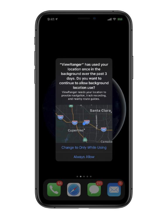 App后台使用位置信息,系统会提醒你