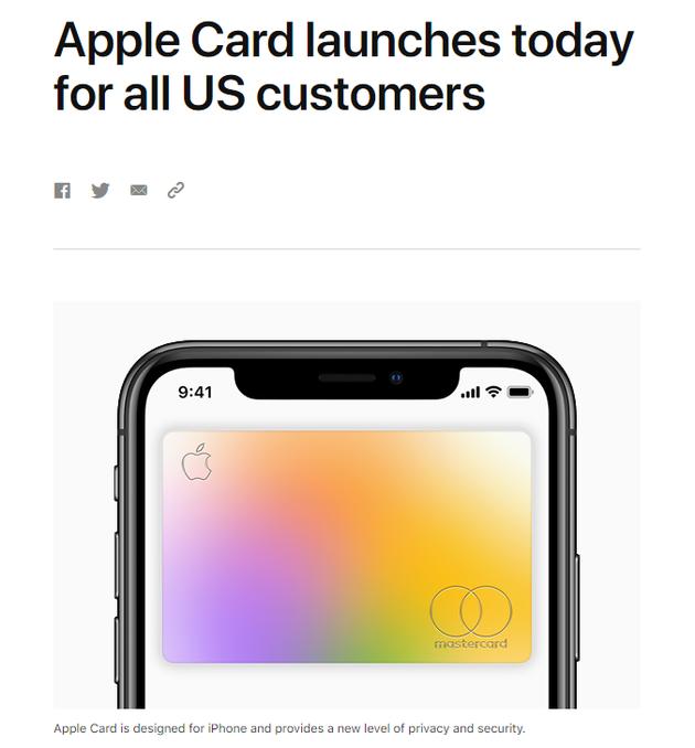 苹果Apple Card向全美消费者推出