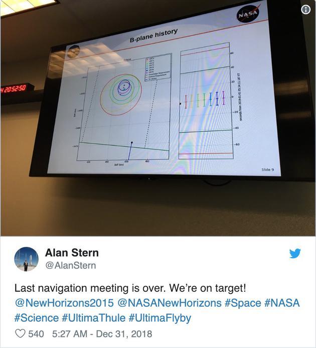 项现在始席科学家阿兰·斯特恩这两天一定很忙。这是他发的一条推特:说末了一次导航会议终结,已经锁定现在标