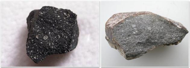 左图的默奇森陨石是一块碳质球粒陨石(0.46g),其包含的水合矿物和有机组分形成于外太阳系。右图为顽辉石球粒状陨石(Sahara 97096,70克),不含形成于内太阳系的水合矿物