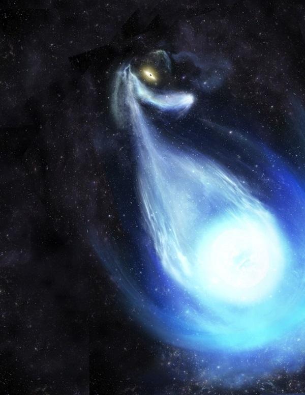 天文学家认为,S5-HVS1是从双星系中弹出来后才达到如此惊人的速度。如渲染图所示,这个双星系统非常接近银河系的中心黑洞。
