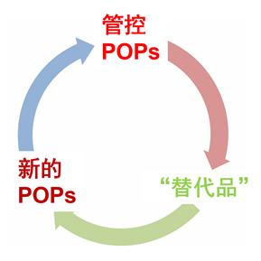 "POPs替代的""锁定""(lock-in)问题示意图"