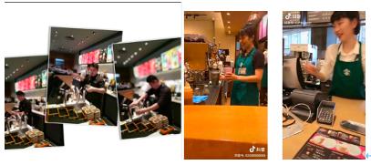 (左图为低头作业的中国咖啡师,右图为全程微笑的日本咖啡师)
