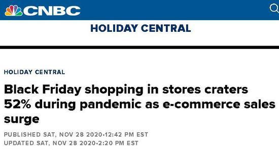 """△CNBC报道,""""黑色星期五""""期间,传统实体店的客流量与去年相比骤降52%"""
