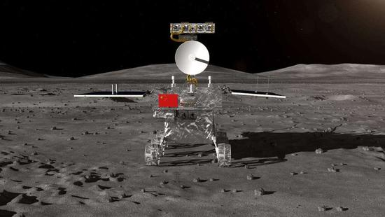 嫦娥四号任务月球车外观设计构型。国家国防科工局图。