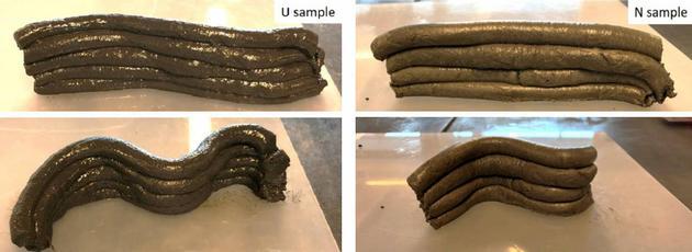科学家测试了分别原料的叠层能力,其中左侧的样品U中含有3%的尿素,右侧的样品N中则含有3%的萘(一栽常见塑化剂)。