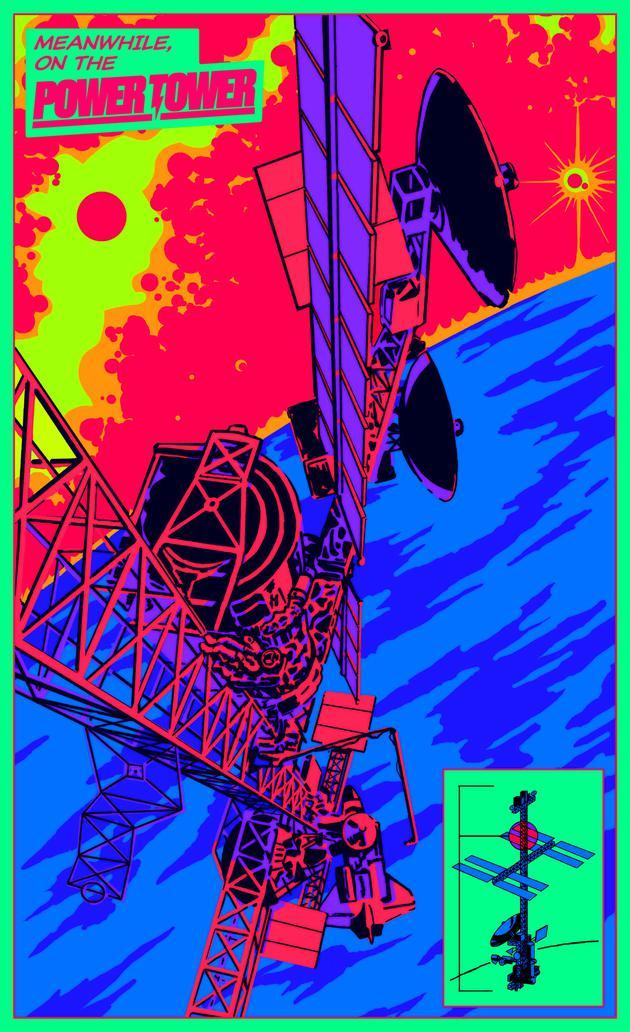 """这个新设计俗称""""电力塔""""(Power Tower),由5个模块组成——2个实验室、1个后勤中心和2个船员舱——集中在一个120米长的桁架末端。"""