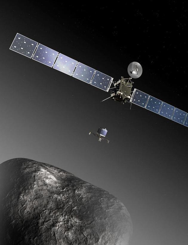 """罗塞塔号及其着陆器""""菲莱""""号在67P/丘留莫夫-格拉西缅科彗星上着陆。在接近彗星之前飞掠地球时,该飞船被误认为是一颗小行星"""