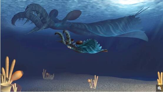 Lyrarapax unguispinus成体和幼体在寒武纪海洋中捕食的想象场景