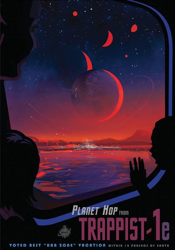 图中是美国宇航局太空旅游海报,表现一颗系生手星环绕红低星TRAPPIST-1运走,天文学家认为,TRAPPIST-1编制中有7颗走星,它们都与该恒星保持潮汐锁定。图中太空旅客抵达的是TRAPPIST-1e,这颗走星位于恒星宜居带,行家推想TRAPPIST-1e表面存在液态水。