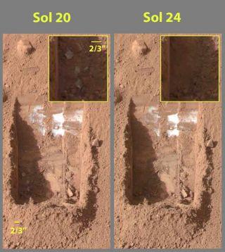 """美国宇航局""""凤凰号""""着陆器在火星高纬度地区用机械臂开挖,很快发现浅地表下白色的水冰物质"""