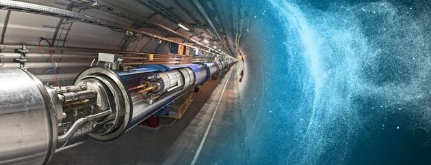 图为大型强子对撞机概念图。