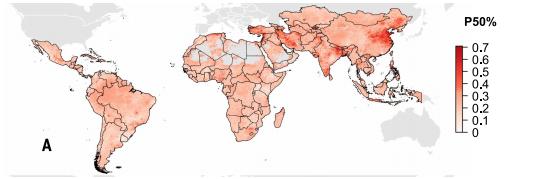 全球范围内抗生素抵抗现象严重程度(红色深浅)