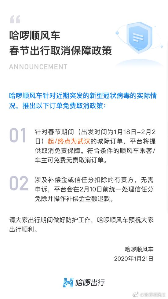 哈啰顺风车:起/终点为武汉的订单提供取消免责保障