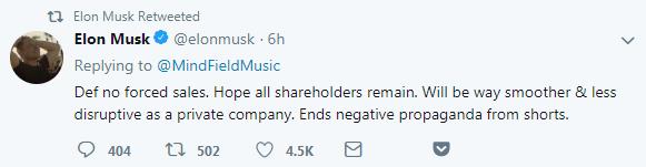 """马斯克:""""我们当然不会强迫股东出售股票。我们希望所有股东能继续持股。我们成为私有化公司,可以让我们经营更顺利、更少干扰。这样也能终结空头的负面宣传。"""""""