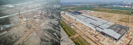 特斯拉销量提升的同时,其在华工厂的建设进度也令人为之惊叹