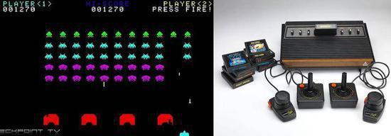 图左:在街机时代红遍全球《太空侵犯者》(国内更为有名的名字是《幼蜜蜂》)由游戏设计师西角友宏与1978年制作发布,以前的火爆程度甚至不是现在的所谓3A通走所能企及。 图右:由雅达利(Atari)在1977年9月11日发走的Atari 2600,发售之初销量平平,直到1980年迎来了移植游戏《太空侵犯者》这款杀手级行使(Killer application)将其带火。