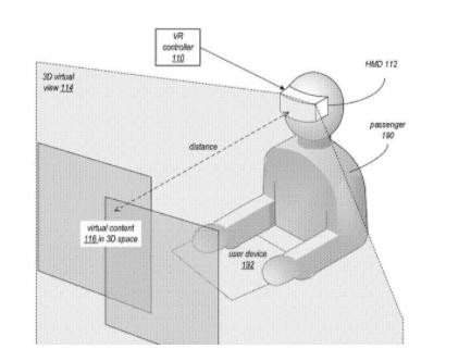 """苹果向美国专利和商标局申请的10,825,255 B2号专利,""""增强虚拟屏幕""""插图。"""