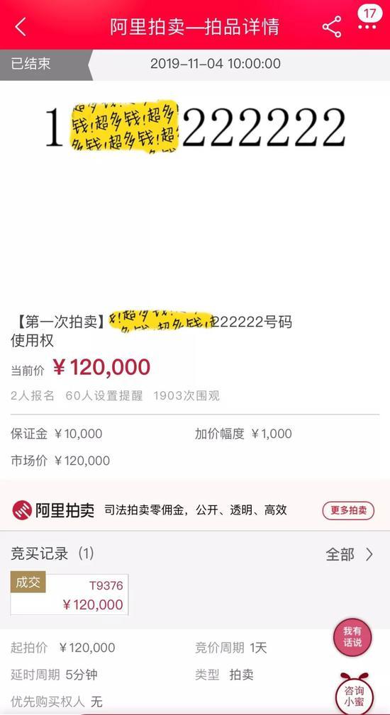 """""""老賴""""尾號222222手機號被拍賣 12萬元成交"""