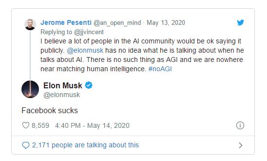 马斯克回应FB人工智能负责人批评:Facebook糟透了